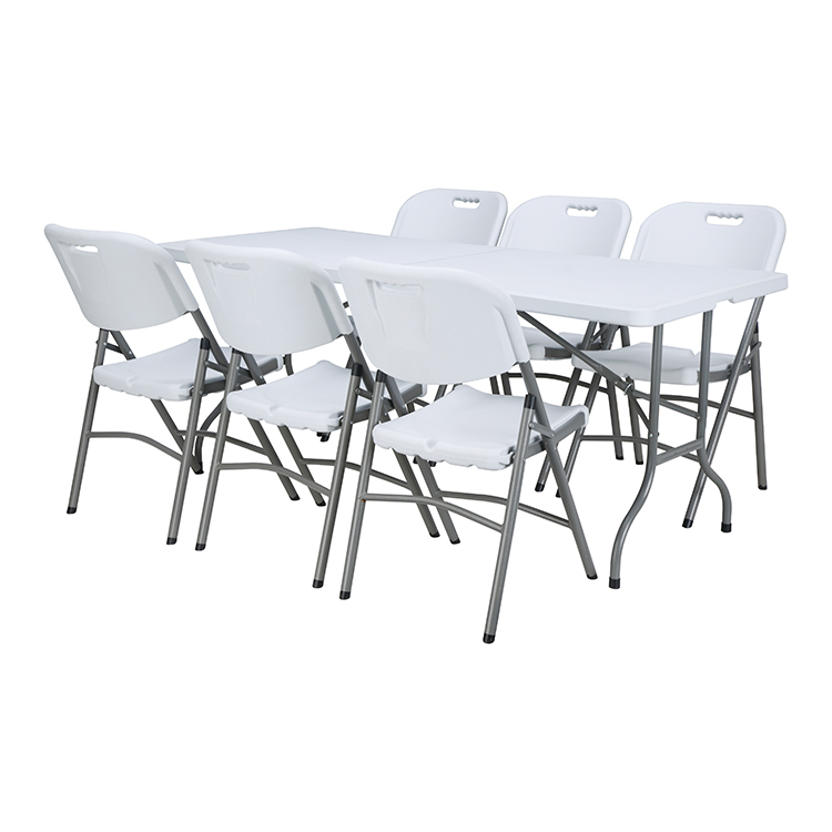 China Wholesale White Folding Table Factories - Wholesale custom 6ft 8ft plastic leg folding picnic table chairs for events banquet – JIANYE