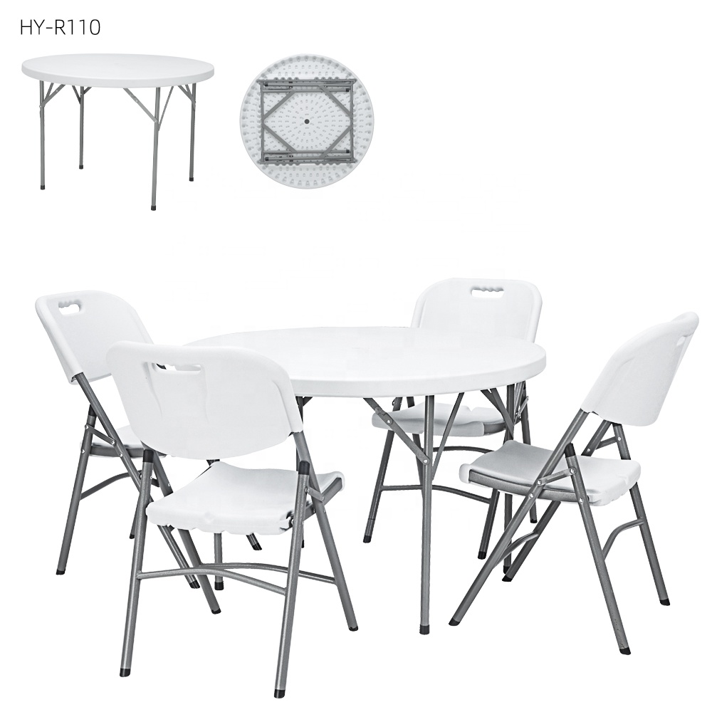 China Wholesale 5 Foot Round Folding Table Quotes - round picnic tables 4 People Portable cocktail banquet white round folding coffee dining tables for events – JIANYE
