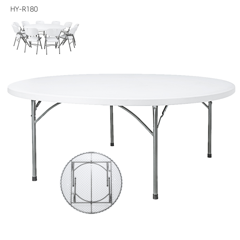 China Wholesale Folding Round Table Factory - Wholesale Steel Frame White Mini Round HDPE Plastic Folding Hotel Banquet Dinner Table for camping picnic – JIANYE