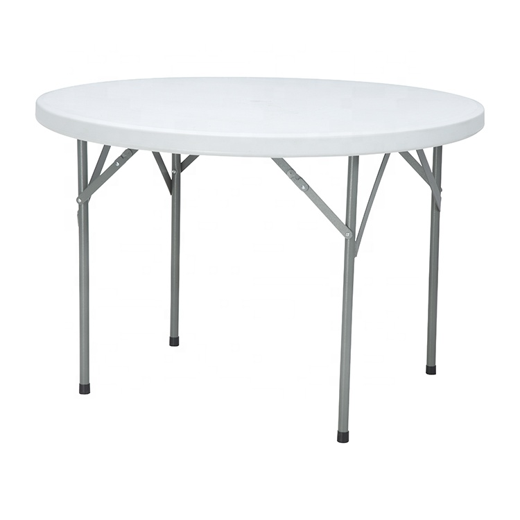 China Wholesale Round Plastic Table With Umbrella Hole Manufacturers - Wholesale Outdoor HDPE 4 People Portable cocktail banquet white round folding dining tables – JIANYE