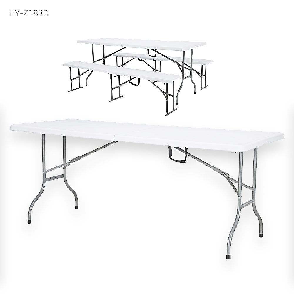 China Wholesale Folding Table With Chair Storage Products - 4 6 8 12 chairs children plastic foldable fold aluminum dining table set  with foldable chair party – JIANYE