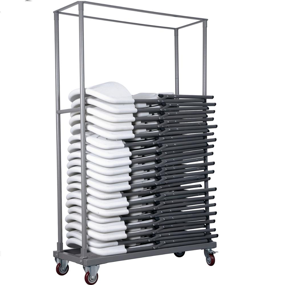 power coated steel frame hand trolley for carry folding plastic chairs