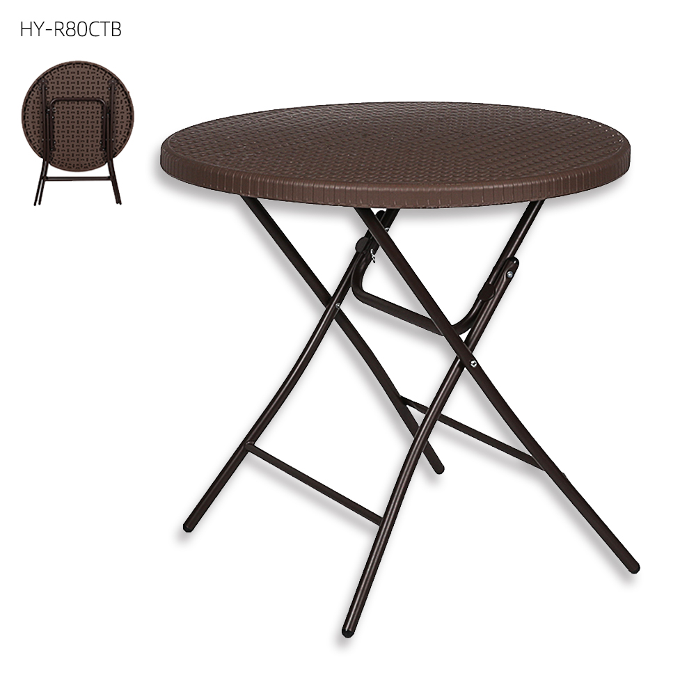 2020 NEW poly-rattan rattan side plastic wicker coffee folding table chair set furniture for comfort