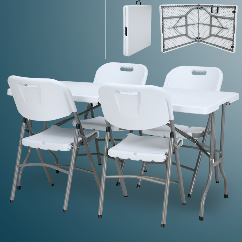 China Wholesale Small Portable Folding Table Manufacturers - Hot-sale cheap 5ft outdoor portable white plastic folding dining picnic table set and chairs fold dining table 4 chairs – JIANYE