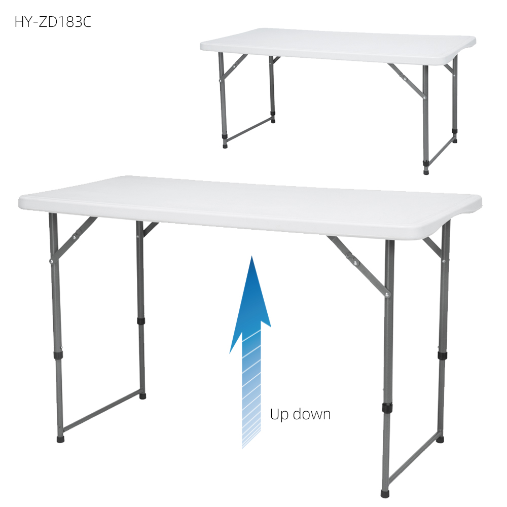 2019 new design 4ft solid top height  adjustable white plastic folding table for camping