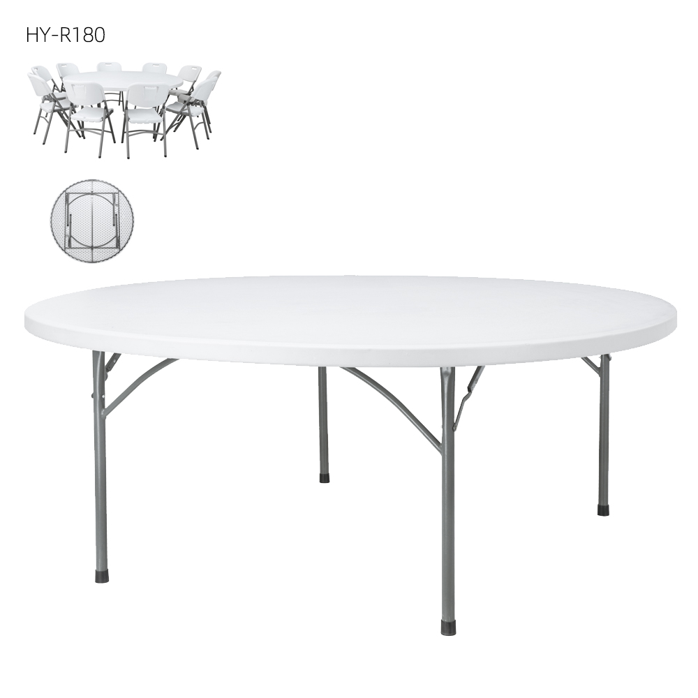 China Wholesale 5 Foot Round Folding Table Manufacturers - wholesale Outdoor Furniture 6ft plastic dining round folding table – JIANYE