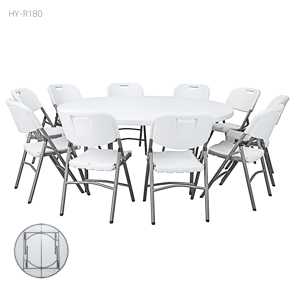 China Wholesale Outdoor Round Folding Table Factory - high quality 10 people adjustable outdoor furniture  round 180cm HDPE 10 people round white plastic folding table and chairs – JIANYE