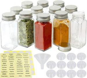 4oz Square Spice Bottles with label