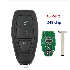 Intelligent full smart 3 buttons Remote Key fob 433MHz with ID49 Chip for Ford Kuga Fiesta 2016 + with emergency key