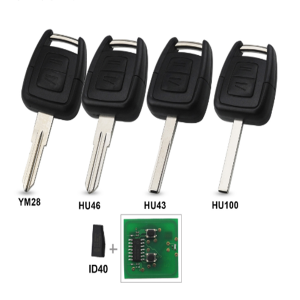 2 Buttons 433Mhz Fob Remote Key For Opel Vauxhall Vectra Zafira OP1 24424723 With ID40 Chip HU43 HU100 YM28 HU46 Blade
