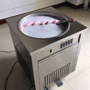 fried soft ice cream machine, two flat pan with five barrel fried ice cream machine