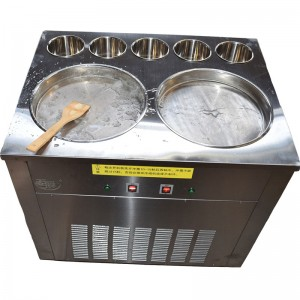 thailand fry soft ice cream machine, single flat pan with four barrel fried ice cream machine