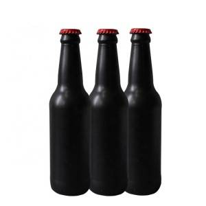 330ml 500ml Matte Black Frosted Glass Beer Bottles With Crown Metal Cap