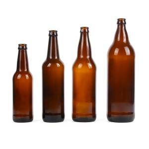 Factory amber glass beer bottle