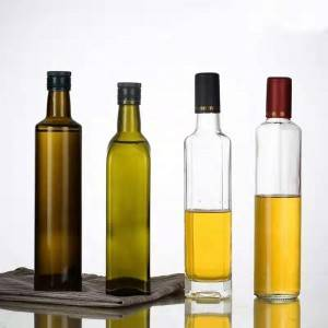 Green Glass Olive Oil Bottles with lid