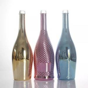 Gold electroplate glass wine bottles