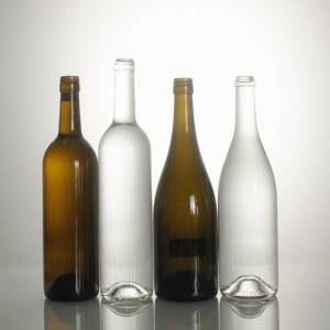 Antique green clear logo customized screw cap wine bottle