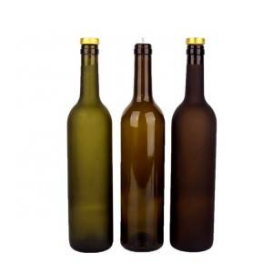 Factory Promotional China Round Shape 750ml Green Bordeaux Glass Wine Bottle