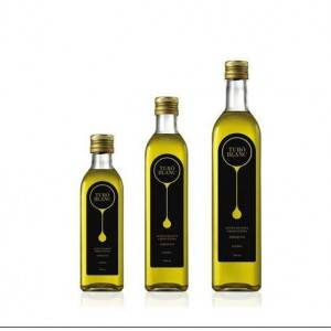 Factory Square Dark Green Glass Olive Oil Bottle