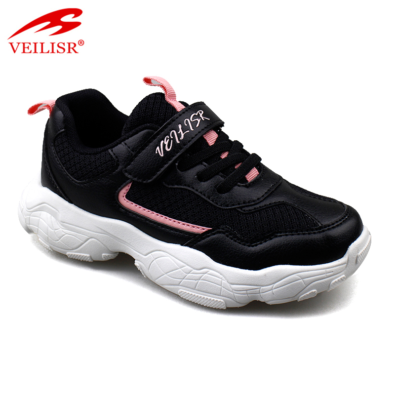 Outdoor quality PU mesh black children running sneakers Kids casual sport shoes