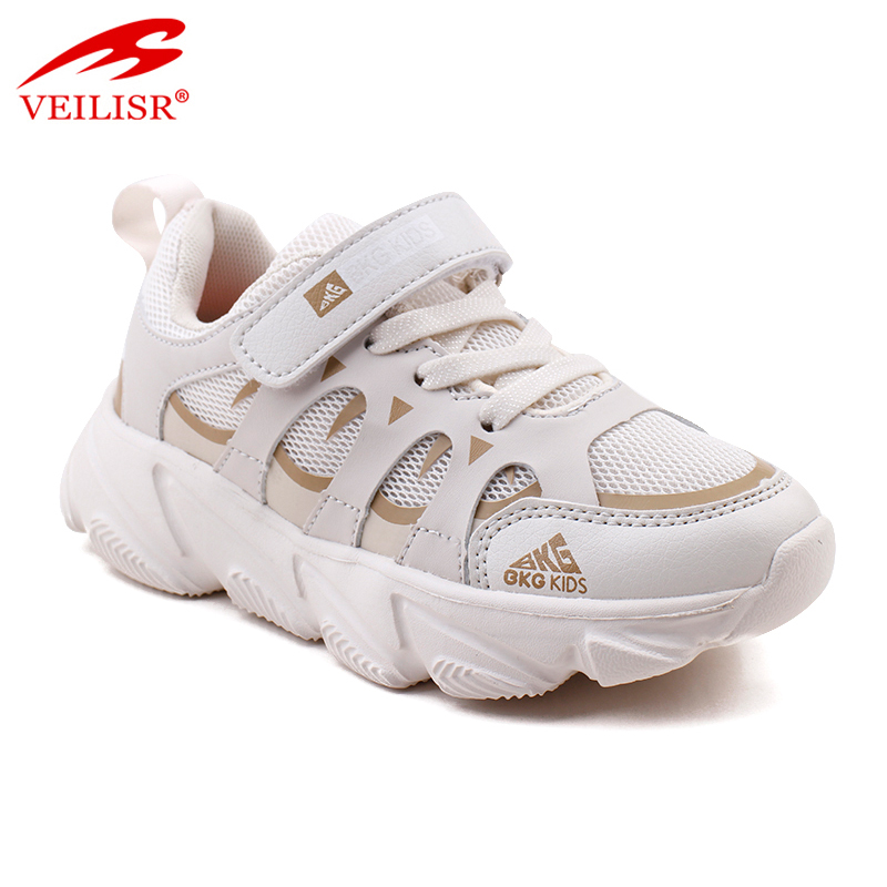 Outdoor PU mesh children school sneakers kids casual shoes