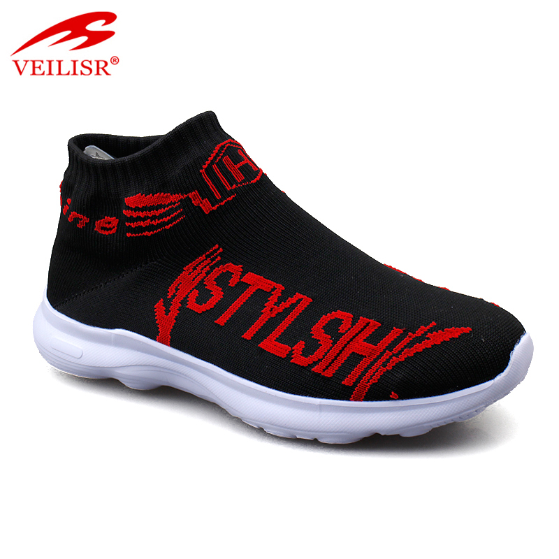 Outdoor knit fabric upper children sock sneakers kids casual shoes
