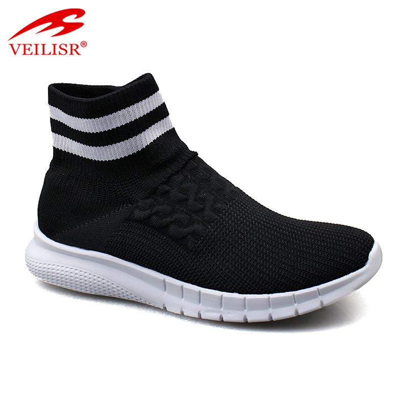 Outdoor fly knit mesh fabric high top black ladies sneakers women sport casual sock shoes