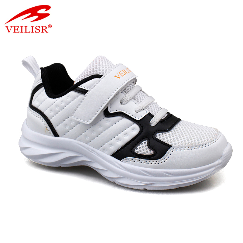 Outdoor PU mesh upper children school sneakers kids casual shoes