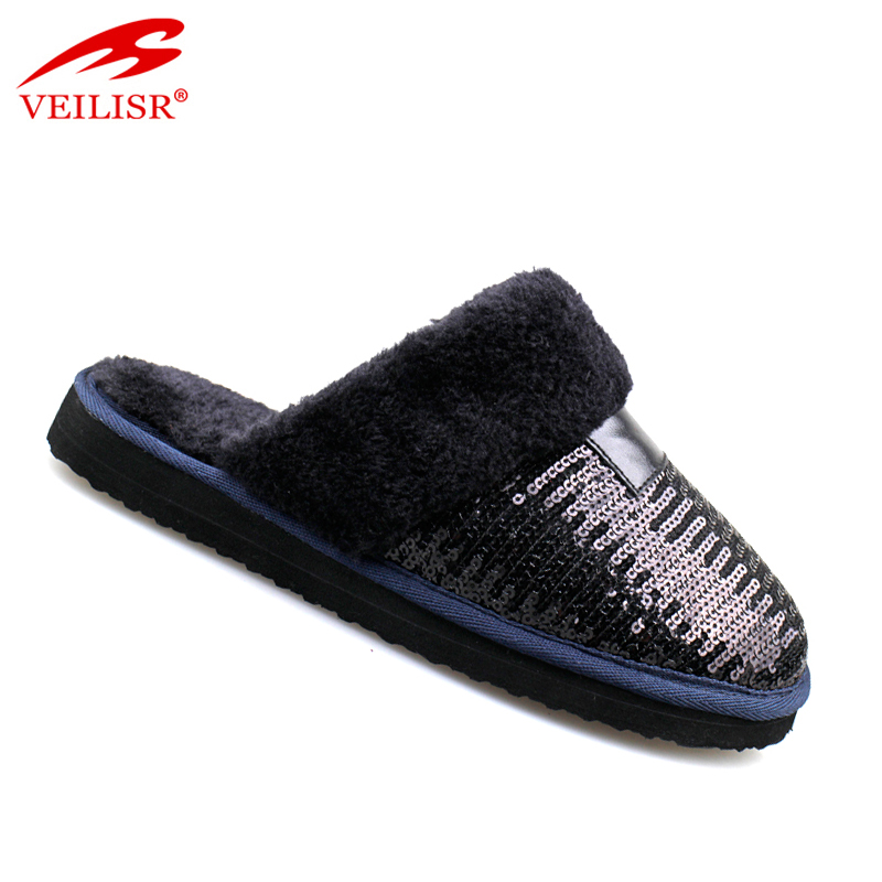 Indoor bedroom warm footwear ladies winter plush slippers