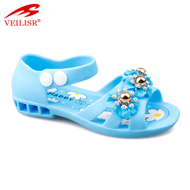 New flower beaded children PVC footwear jelly shoes kids sandals
