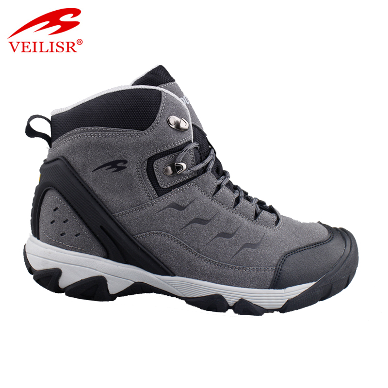 Personalized Cute Simple Hot Outdoor breathable leather trekking high top men hiking boots shoes