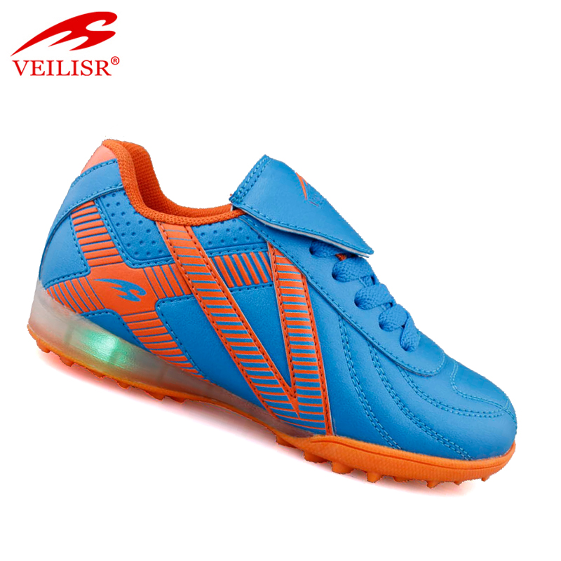 Zapatos de futbol brand blue children soccer boots kids LED light up football shoes