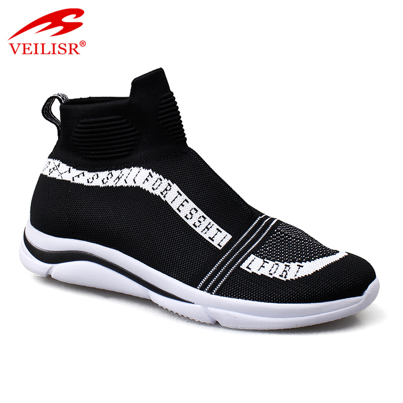 Most popular knit fabric fashion casual sport shoes men sock sneakers
