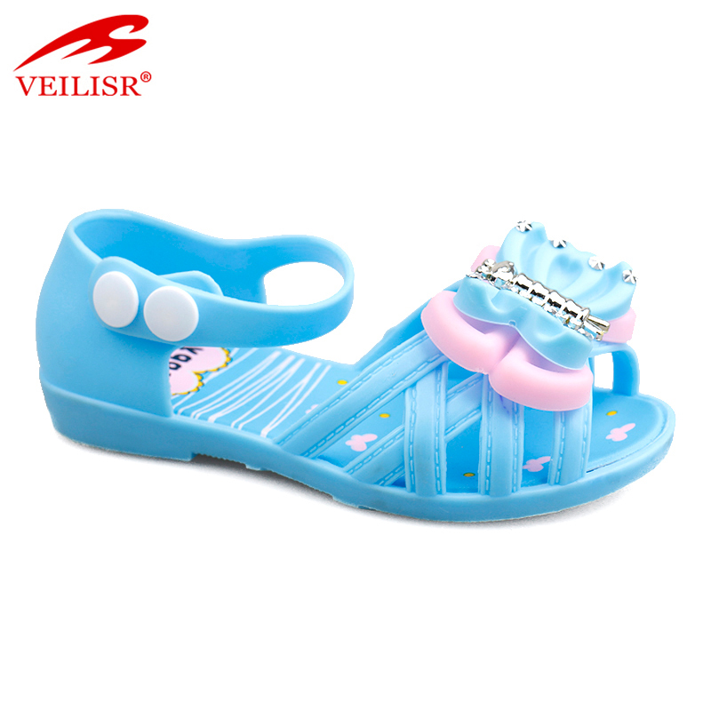 Bowknot design children PVC footwear jelly shoes led light kids sandals