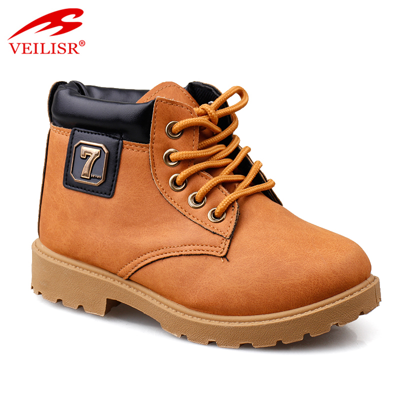 New design fashion faux leather injection shoes kids casual boots