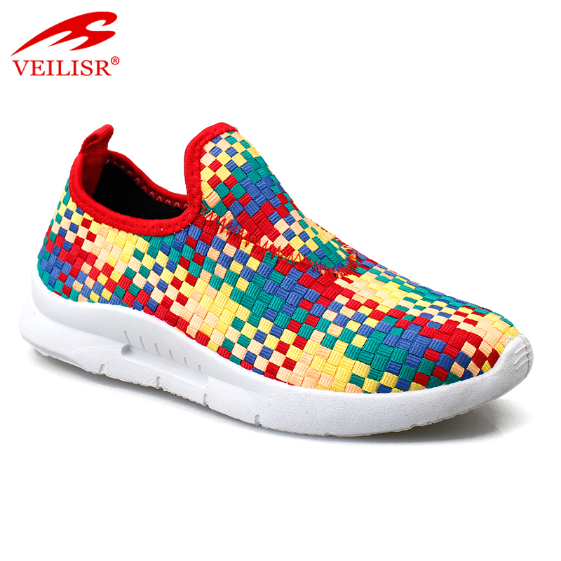 New woven elastic ladies fashion sneakers women casual sport shoes