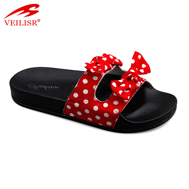 Outdoor summer bowknot design children slide sandals kids slippers