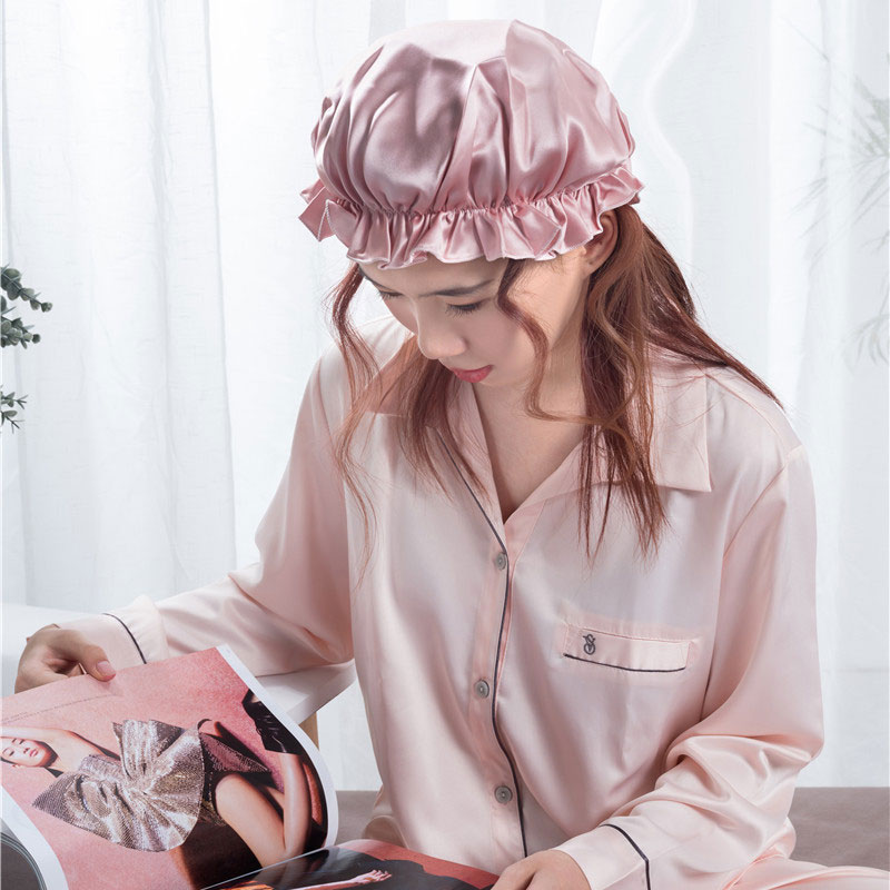 Cheap PriceList for Silk Sleep Hat - New design Silk bonnet solid pink  – Wonderful Textile