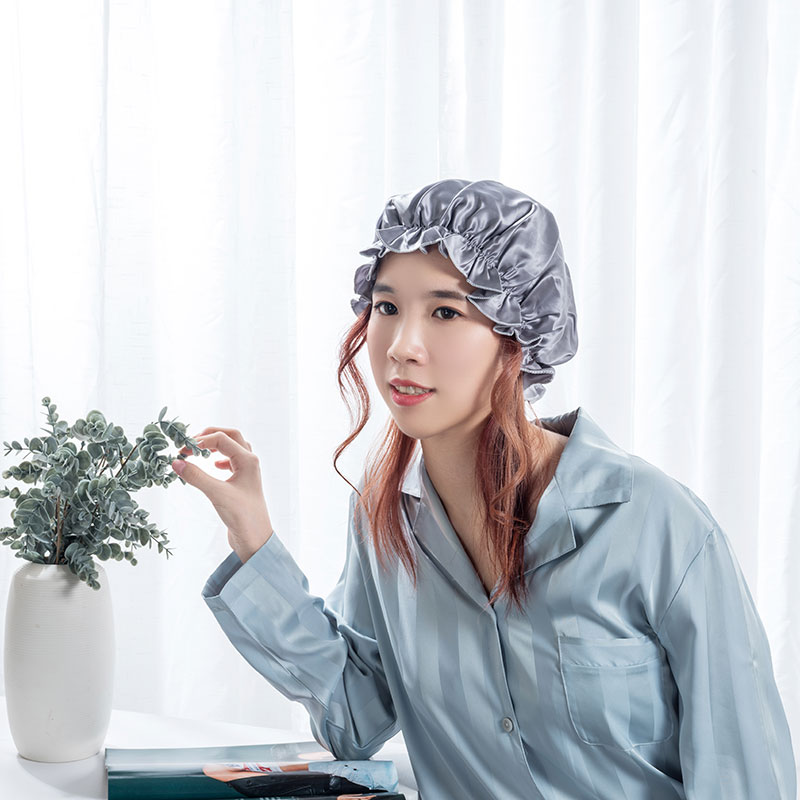 Fast delivery Silk Cap For Curly Hair - Silk bonnet silver color  – Wonderful Textile