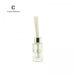 100ml Decorative Clear Square Reed Glass Diffuser Bottle with screw cap