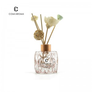 60ml Clear Glass Shaped Aroma Bottle with Flower Rattan