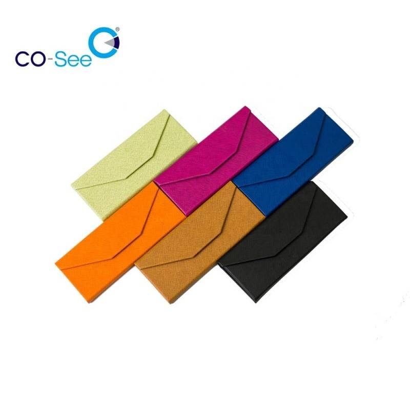OEM/ODM Factory Glasses Eva Case - Wholesale fashion designer OEM custom LOGO leather triangle folding sunglass case – Co-See detail pictures