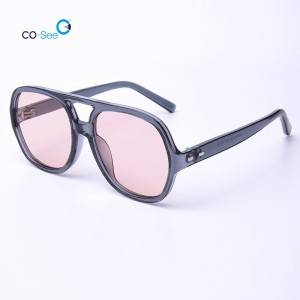 China wholesale Optical Eyeglasses - Newest Fashionable Large PC Frame Pilot Nose Bridge Hollow-out Sunglasses – Co-See