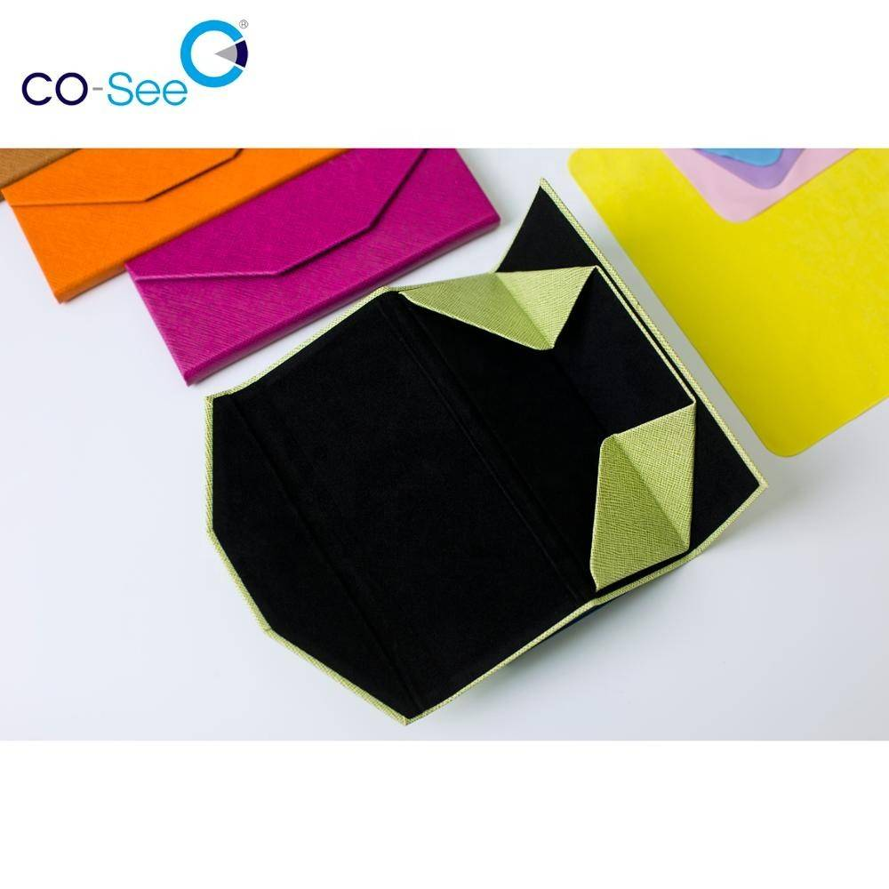 Cheapest Price Optical Packing Box - Wholesale fashion designer OEM custom LOGO leather triangle folding sunglass case – Co-See