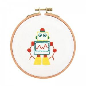 Hot Sale Cartoon Robot Handwork Needlework Set DIY Embroidery Kits for Kid Benefit Intelligence No.511291