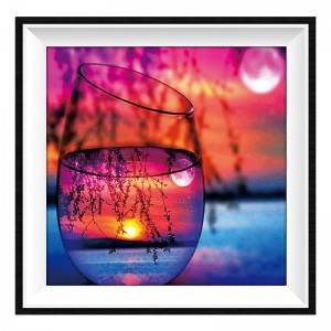 Wholesale Custom Home Decor Glass Cup Sunset Scenery Picture DIY Full Drill Acrylic Diamond Painting without Frame Item No.12308