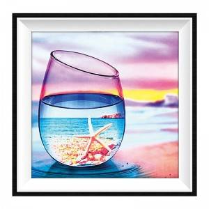 5d Diamond Painting Kit Tools Customized Glass Cup Sea Scenery Diamond Painting Full Drill Arts Craft For Wall Decor Item No.12311