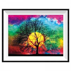 5D diamond painting full of diamonds, sunset glow scenery tree DIY decoration painting by number wholesale Item No. 12320