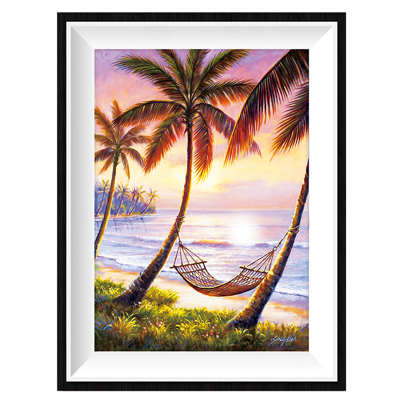 5D Full Diy diamond painting mosaic handmade sunset beach landscape round diamond sets Item No. 12321