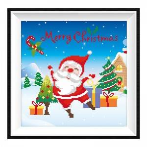 Custom Full Drill Acrylic Mosaic Diamond Painting Kit Christmas 1 Wholesale Cartoon Santa Claus Diamond Painting Item No.12194